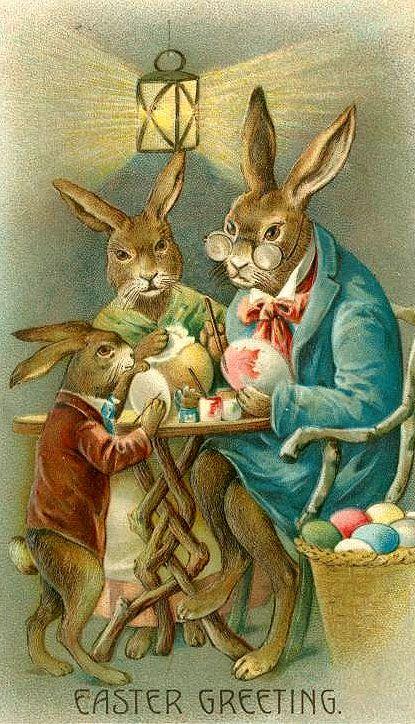 Conejos pintando huevos